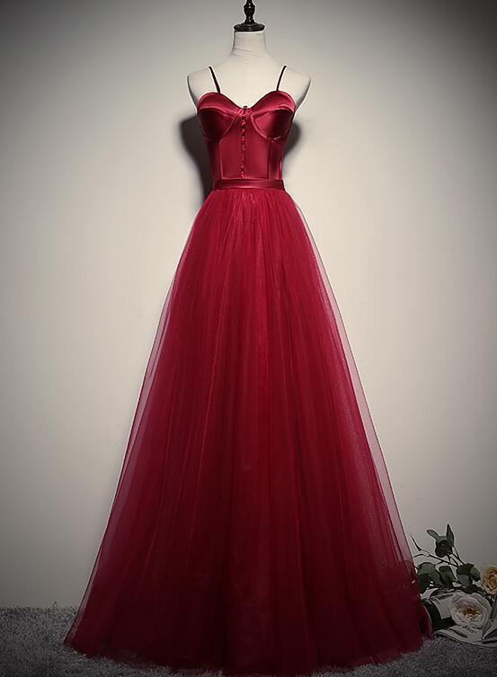 Gorgeous Dark Red Straps Tulle Long Party Dress, A-line Formal Dress