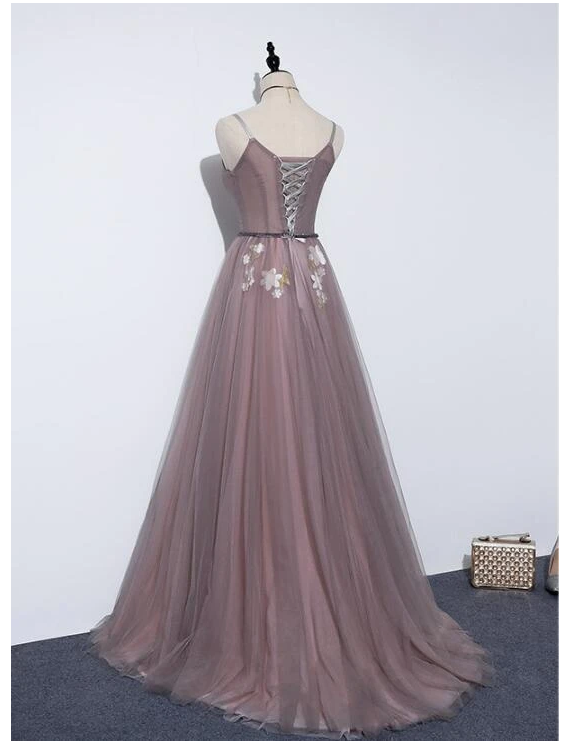 Charming V-neckline Flowers Dark Pink Prom Gown, Long Formal Dress