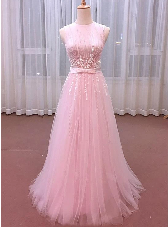 Charming Pink Tulle Round Neckline Party Dress 2020, Prom Dress