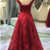 Fashionable Dark Red Lace Long Prom Dress 2020, A-line Party Dress