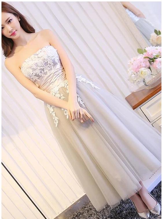 Elegant Vintage Style Tea Length Grey Bridesmaid Dress, Tulle Party Dress