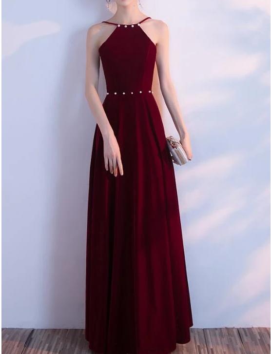 Wine Red Halter Beaded Long Party Dress, Velvet Bridesmaid Dress