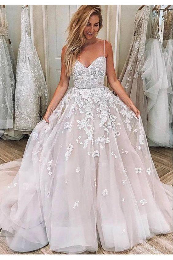 floral wedding dresses for bride lace appliqué beaded spaghetti straps elegant
