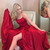 2020 red long prom dress with spaghetti straps, lace up back and side slit