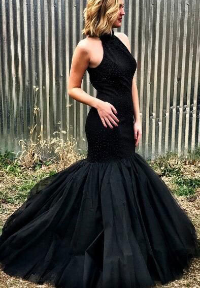 HIGH NECK MERMAID BLACK PROM DRESSES EVENING GOWNS WITH BEADED,2934