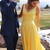 simple yellow long prom dress with v neckline
