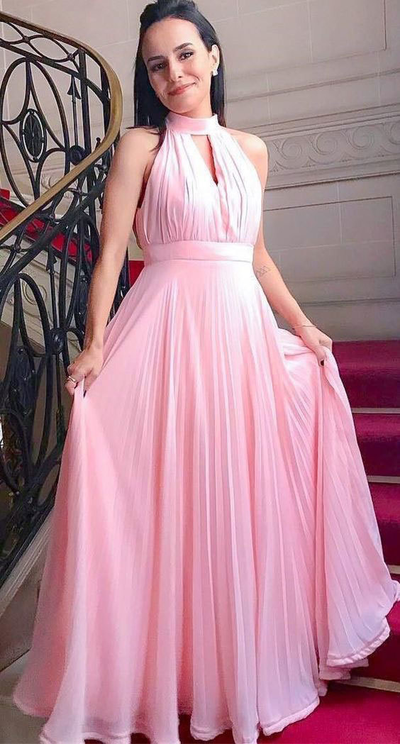 PINK HIGH NECK CHIFFON KEYHOLE PROM DRESSES LONG EVENING GOWNS,2936