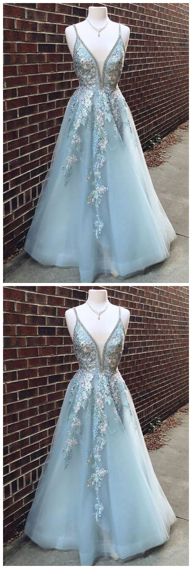 Blue Prom Dress with Appliques, Long Prom Dress for Teens