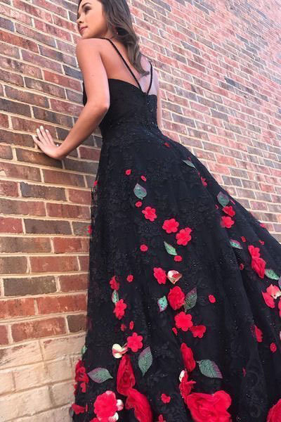 SPAGHETTI STRAPS BLACK PROM DRESSES LONG EVENING DRESSES WITH FLOWERS 2942