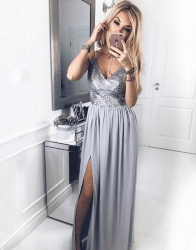 Long Grey Prom Dress, A Line Prom Dress, Cheap Prom Dresses