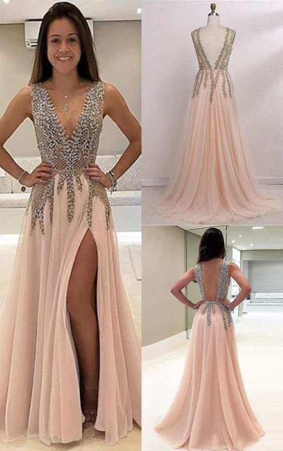 Beaded Prom Dresses, Long Backless Prom Dress, A Line Prom Dress with Split