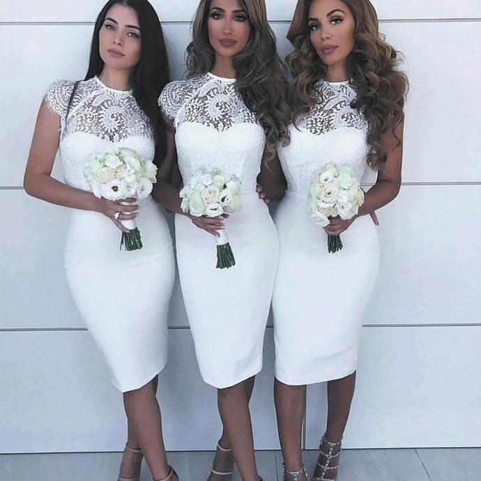 lace bridesmaid dresses short wedding party dresses 2020 mermaid white elegant