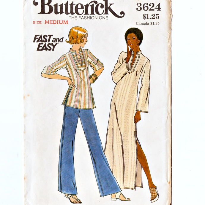 Butterick 3624 Misses Caftan, Top 70s Vintage Sewing Pattern Size Med 12-14 Bust