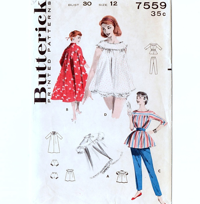 Butterick 7559 Misses Baby Doll Pajamas, Robe 50s Vintage Sewing Pattern Uncut
