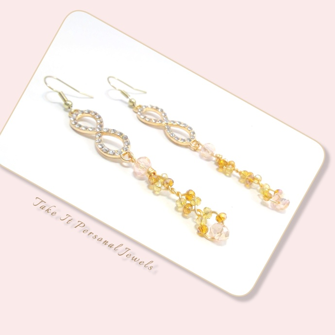Infinity Rhinestone Earrings Rose Gold Statement Jewelry Dangle Crystal Earrings