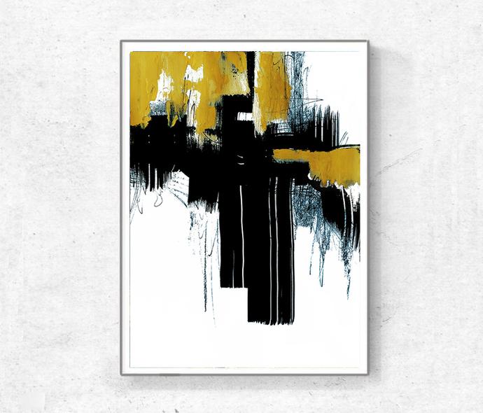 Abstract Art Print , Set Of Two Printable Art Gray Black, yellow Rust Modern
