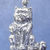 """Heavy, sitting longhaired cat pendant in bronze or sterling silver, Cat """"B"""""""