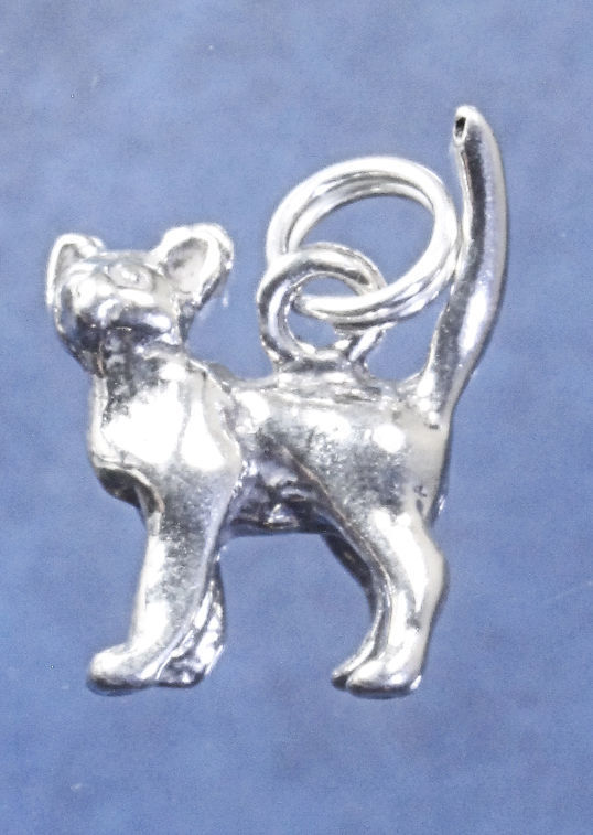 """Curious short haired cat charm in sterling silver, Cat """"E"""""""