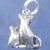 "Sitting cat and kitten charm in bronze or sterling silver, Cat ""I"""