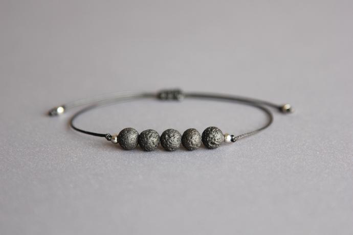 Black lava bead bracelet Beaded mens bracelet Aromatherapy bracelet Essential