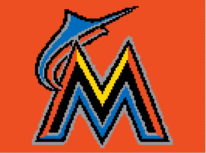 Miami Marlins Crochet Pattern  (Graph, SC, C2C, Bobble stitch)