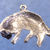 "Reclining long-haired cat pendant in bronze or sterling silver, Cat ""O"""
