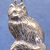 "Sitting longhaired cat pendant in bronze or sterling silver, Cat ""P"""