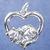 """Cat in heart pendant in sterling silver, Cat """"R"""""""