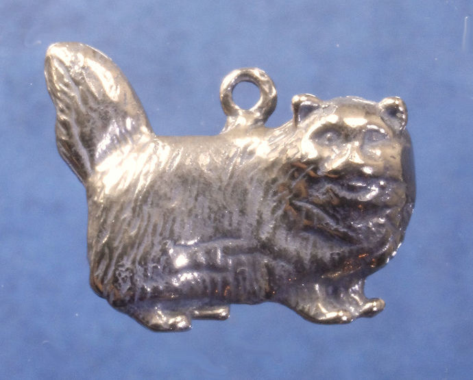 """Heavy long haired cat pendant in bronze or sterling silver, Cat """"U"""""""