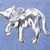 """3-D cat charm in sterling silver, Cat """"V"""""""