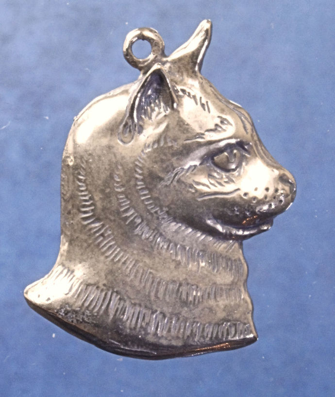 "Tabby cat head profile charm in bronze or sterling silver, Cat ""W"""