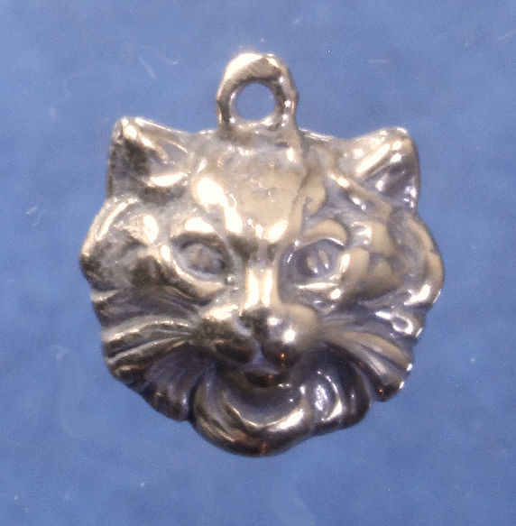 """2-D long haired cat face charm in bronze or sterling silver, Cat """"Y"""""""