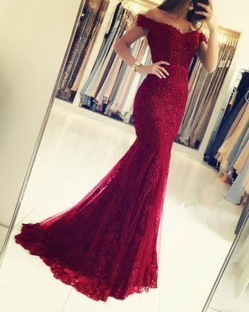 Burgundy Tulle Long Party Dress, Off Shoulder Lace Applique Formal Dress