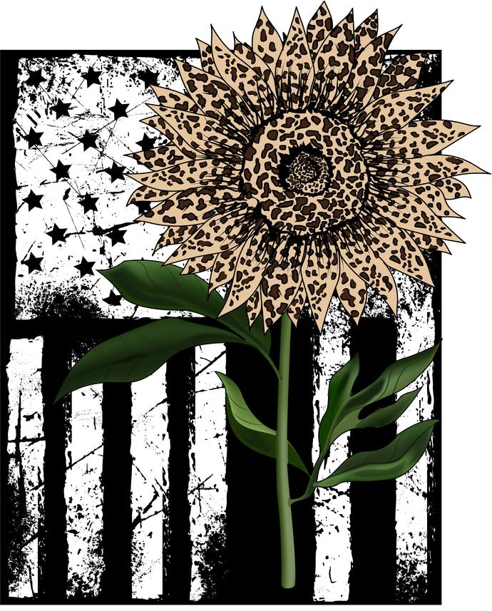 Distressed American Cheetah print sunflower Flag, 'Merica, USA, Sunflower,