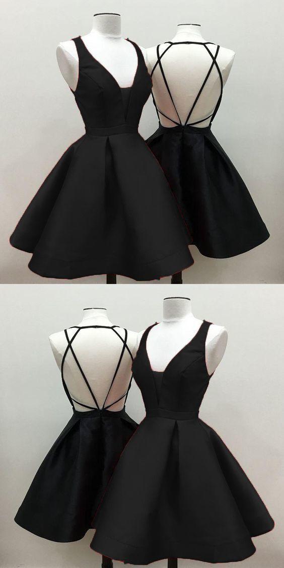 short black satin open back homecoming dresses 2020   ML6981