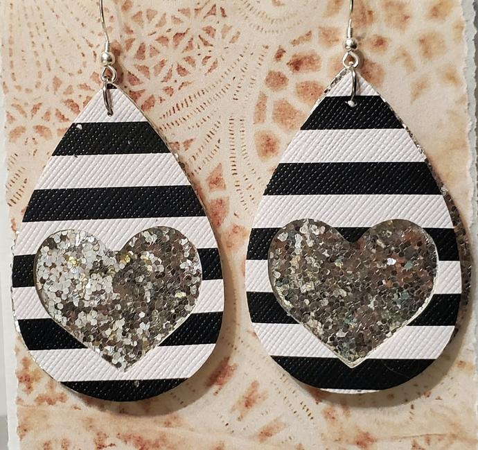 SILVER glitter heart faux leather earrings