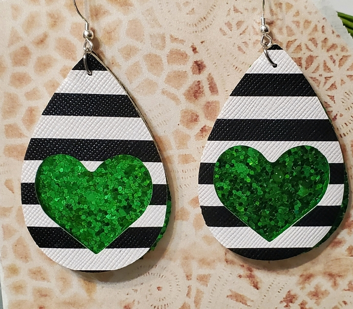 GREEN glitter heart faux leather earrings