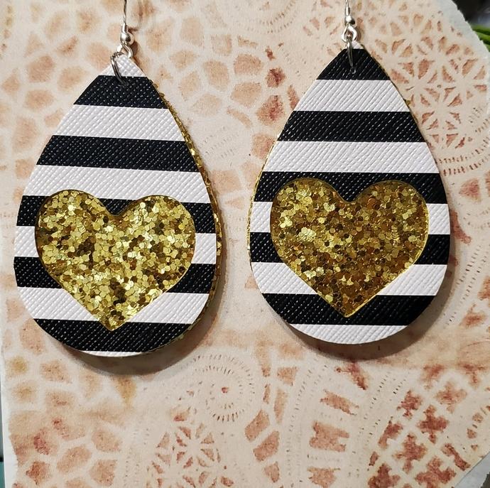 GOLD glitter heart faux leather earrings