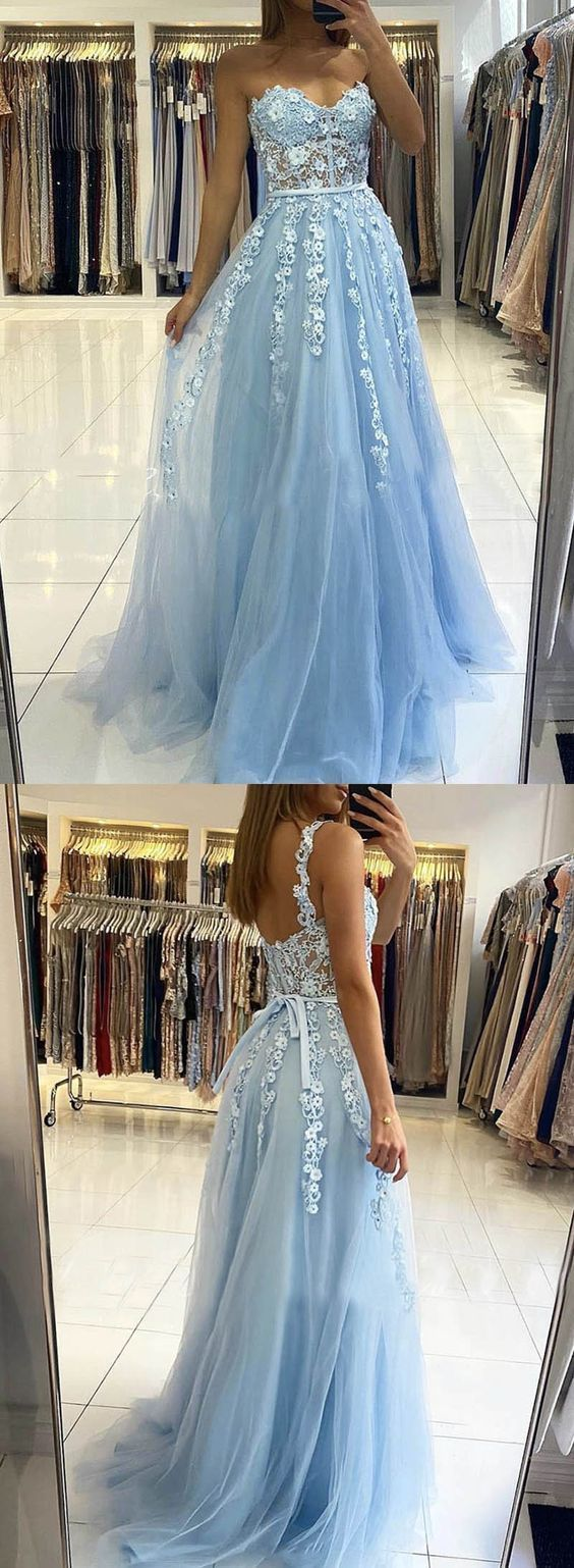 Blue tulle lace long prom dress evening dress  ML6985