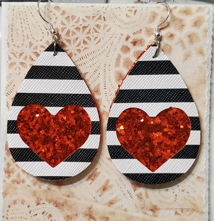 RED glitter heart faux leather earrings