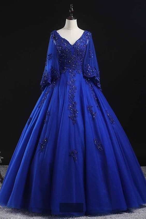 Royal Blue Tulle Long Lace Corset Princess Puffy Prom Dress Formal Dress  ML6988