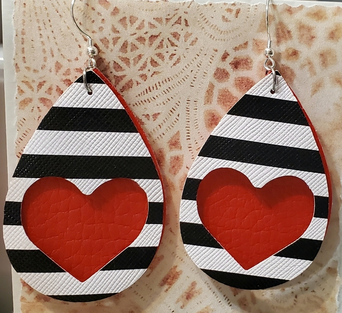 RED heart faux leather earrings