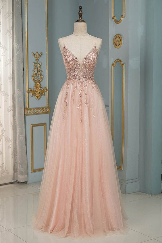 Blush Pink Tulle Long Prom Dresses Spaghetti Beaded Backless Evening Gowns