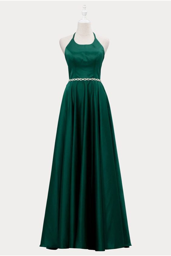 Deep Green V Neck Long Beaded A Line Backless Prom Dress Evening Dress  ML6993