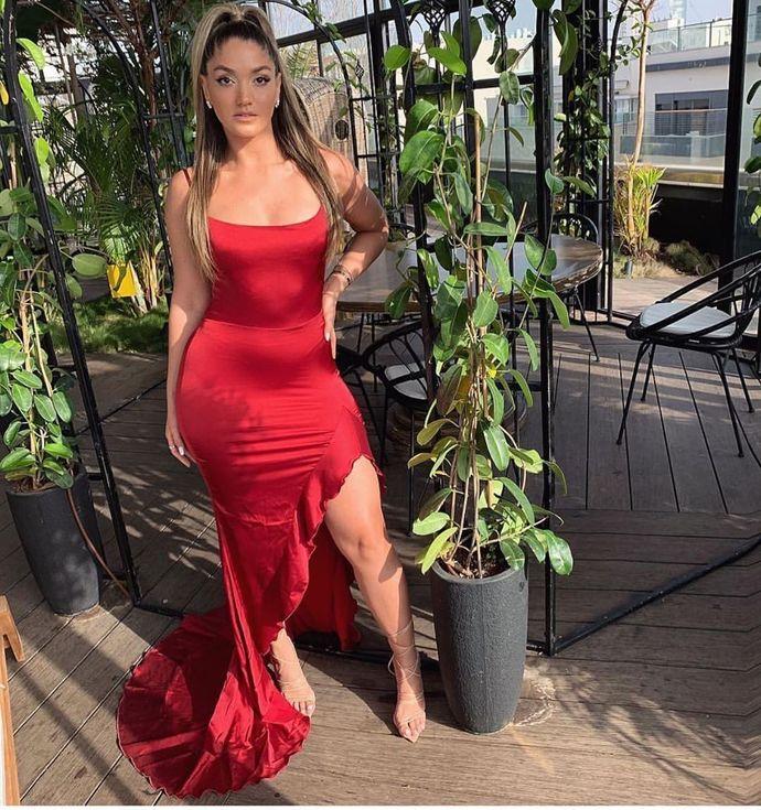 Cheap Sheath Spaghetti Straps Red Long Prom Party Dress 2495