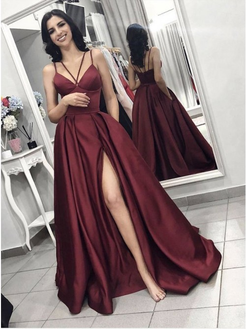 A-Line Spaghetti Straps Sweep Train Burgundy Satin Prom Dress with Pockets