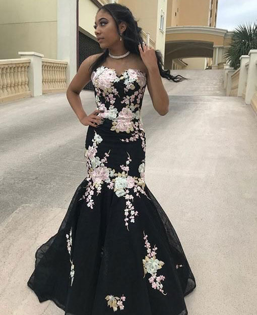 STRAPLESS MERMAID LONG PROM DRESSES WITH FLOWERS APPLIQUES 2949