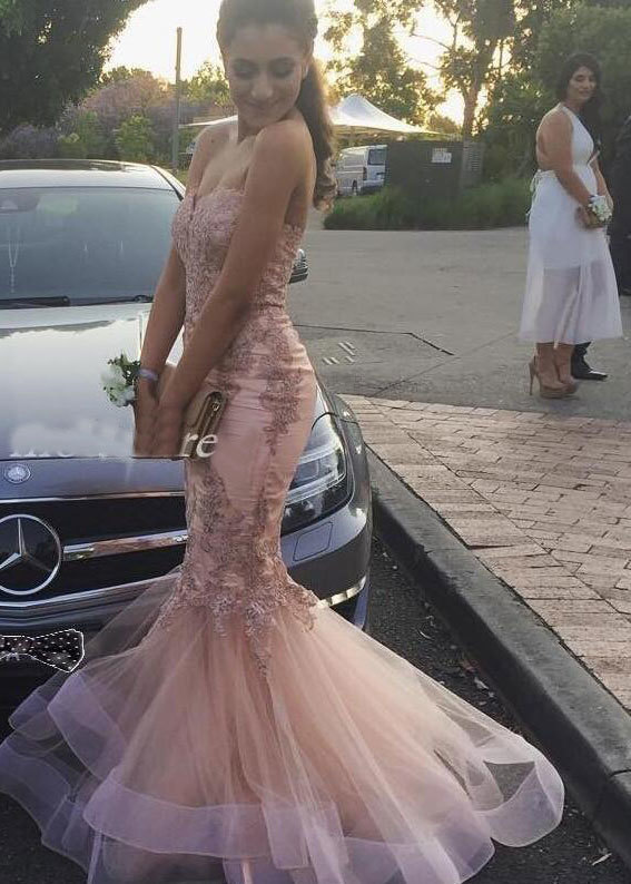 MERMAID STRAPLESS PROM DRESSES WITH APPLIQUES 2950