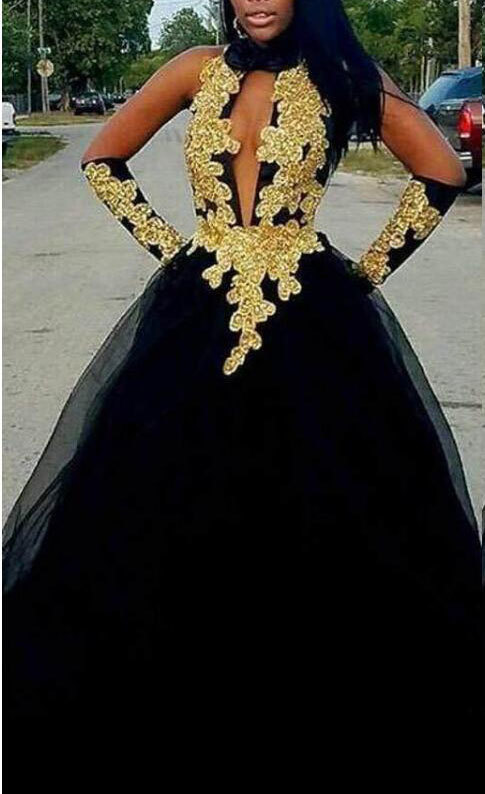 DEEP V NECK BLACK TULLE PROM DRESSES WITH GOLD APPLIQUES 2951