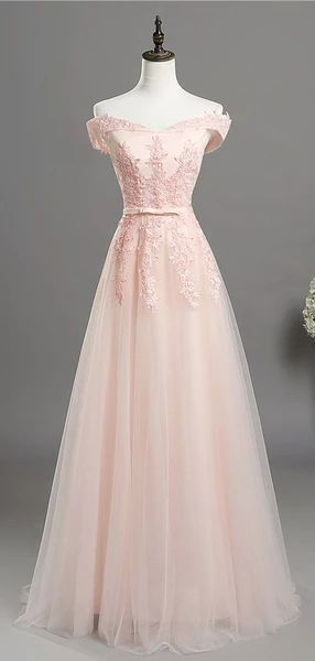 Pale Pink Off Shoulder Lace A-line Long Evening Prom Dresses, Cheap Sweet 16